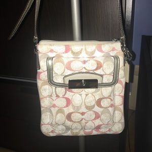 Pink and white coach satchel